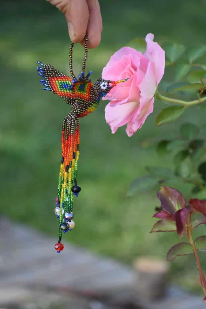 Beaded Hummingbird Handicraft from Tzununa, Lake Atitlan, Guatemala